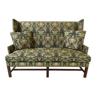 Hickory Chair Co High Back Upholstered Chippendale Loveseat For Sale