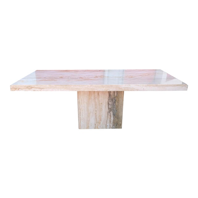 1970s Italian Long Travertine Dining Table For Sale