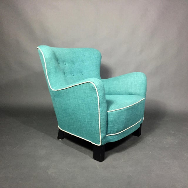 Turquoise Late 1930s Danish Buttoned Armchair With Turquoise Upholstery For Sale - Image 8 of 10