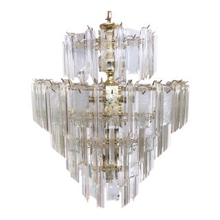 20th Century Hollywood Regency Luciteand Brass Waterfall 5-Tier Chandelier