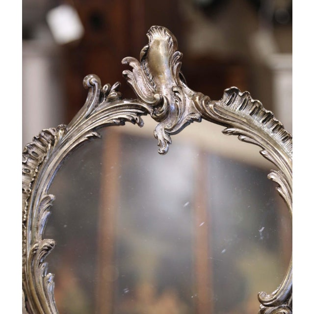 Late 19th Century 19th Century French Louis XV Silvered Bronze Free Standing Vanity Table Mirror For Sale - Image 5 of 8