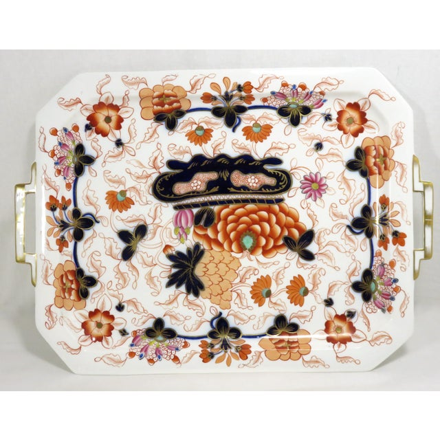 Antique Bone China Imari Style Serving Tray For Sale - Image 9 of 13
