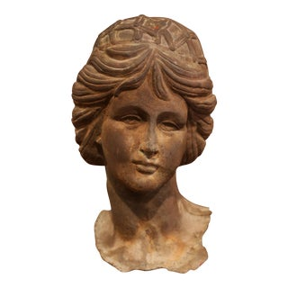 19th Century French Iron Bust of a Woman After the Antique on Rectangular Base