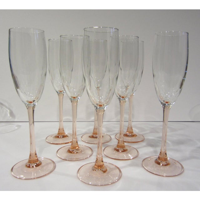 Glass French Pink Champagne Flutes - Set of 8 For Sale - Image 7 of 11
