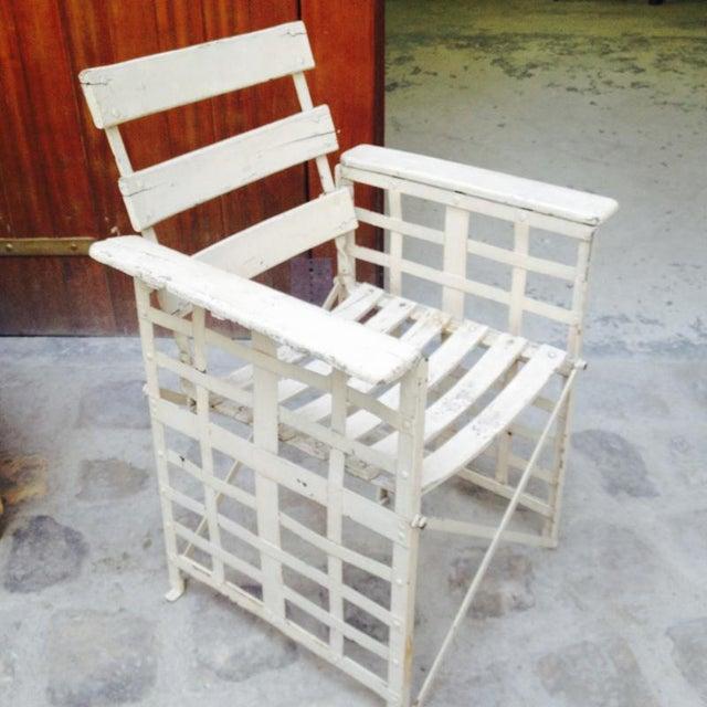 Austrian sécession pair of garden arm chair in genuine vintage condition.