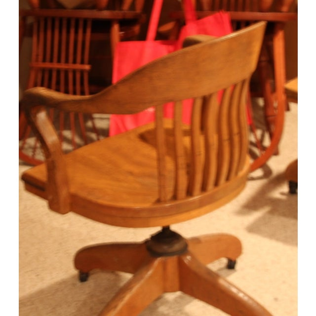 Antique Office Chair With Casters - Image 3 of 3