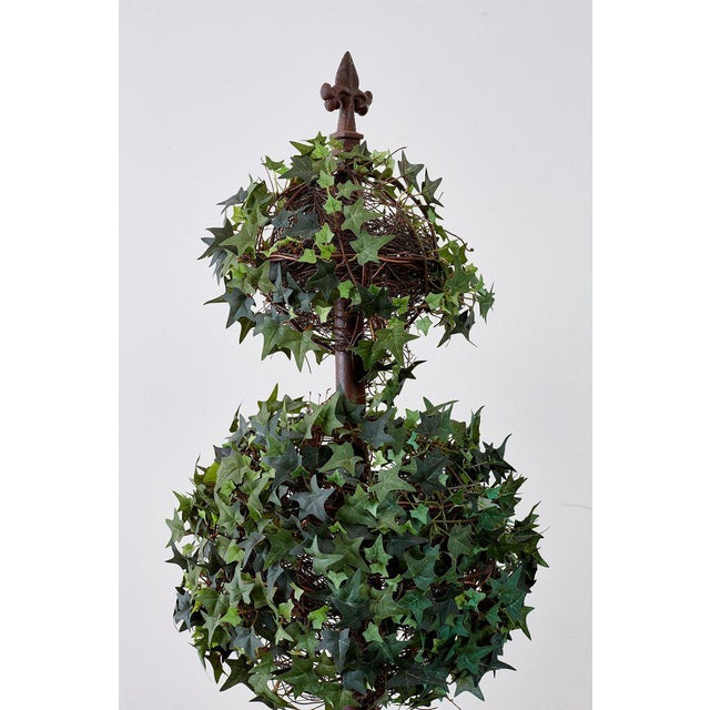 Early 20th Century Pair of Neoclassical Faux Ivy Topiary Trees For Sale - Image 5 of 13