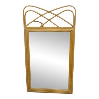 Curvy Boho Chic Style Rattan Mirror For Sale