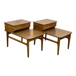 Vintage Walnut Mersman Mid Century Modern 2 Tier End Tables For Sale