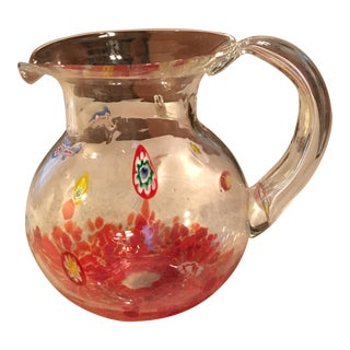 Clear Multicolor Hand Blown Art Glass Pitcher For Sale