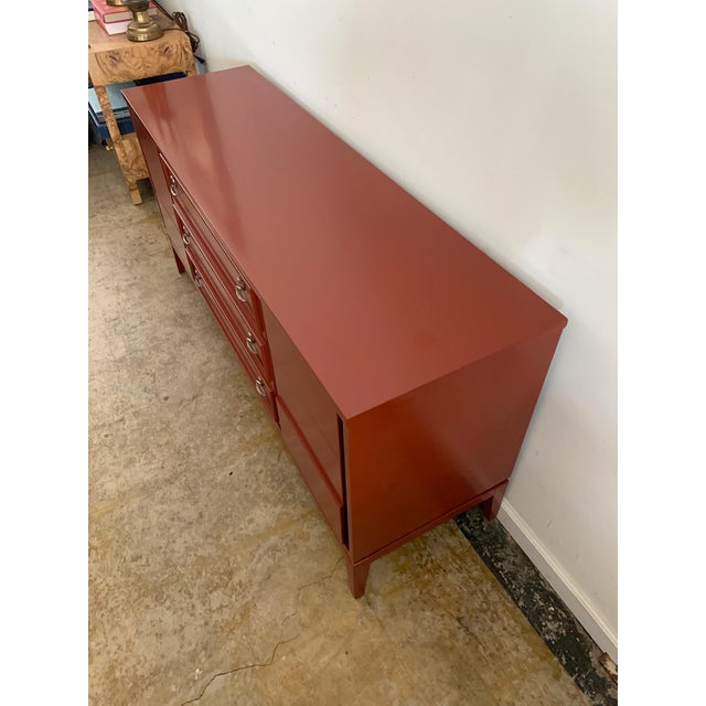 Dixie Mid-Century Brick Red 9 Drawer Dresser For Sale In Los Angeles - Image 6 of 11