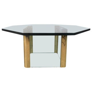 Mid-Century Modern Brass and Glass Coffee Table After Leon Rosen For Sale