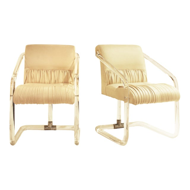 Pair of Signed Lion in Frost Lucite and Chrome Chairs For Sale