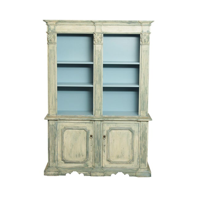 Italian Custom Faux Blue Painted Architectural Bookcase For Sale - Image 13 of 13