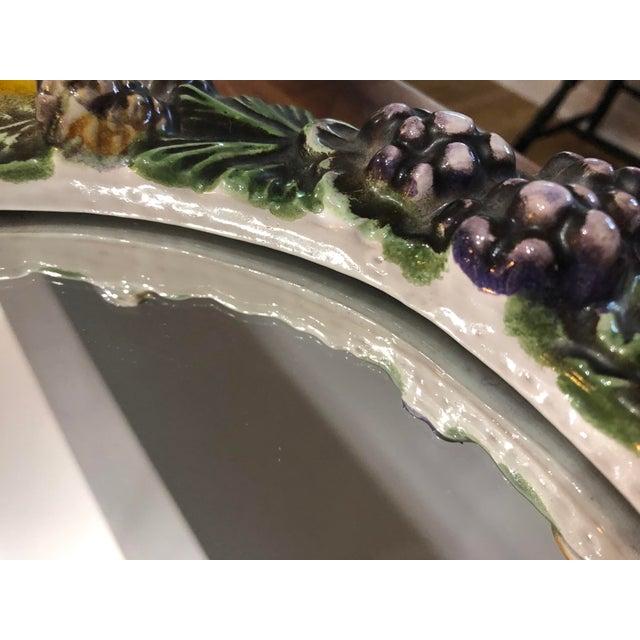 1960s Vintage Italian Ceramic Della Robbia Wreath Mirror For Sale - Image 5 of 9