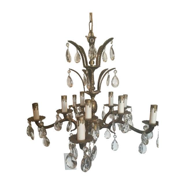Vintage Brass 10 Light Pineapple Chandelier - Image 1 of 7