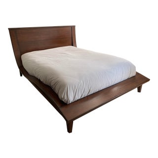 Modern Sleigh Walnut Finish Bedframe For Sale