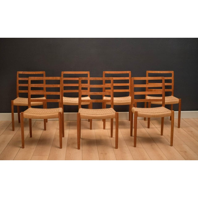 Mid-Century Modern Vintage Mid Century Moller Model 85 Danish Teak Dining Chairs- Set of 8 For Sale - Image 3 of 12