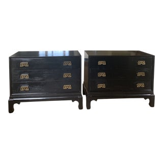 Black Lacquered Chinoiserie Chests With Brass Pulls- a Pair For Sale