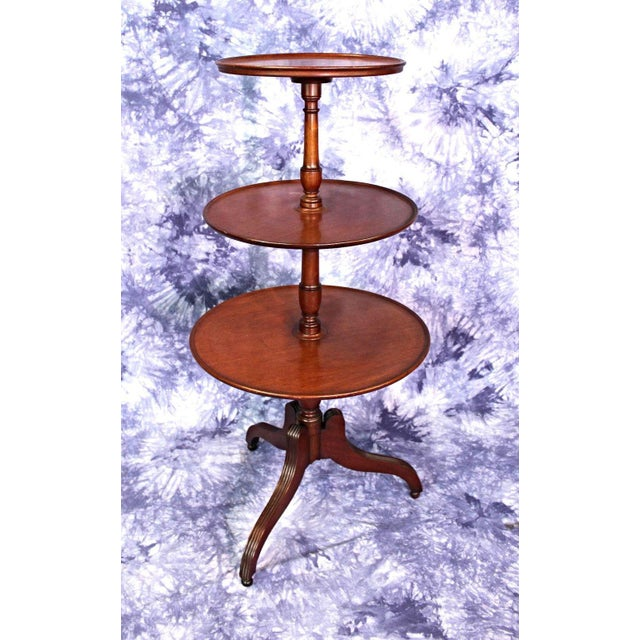 Antique Sheraton Style 3 Tier Mahogany Dumbwaiter Tea Table For Sale - Image 9 of 10