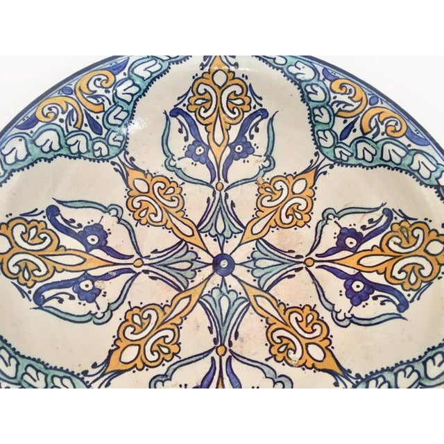 Mid 20th Century Moroccan Large Ceramic Plate Bowl From Fez For Sale - Image 5 of 13