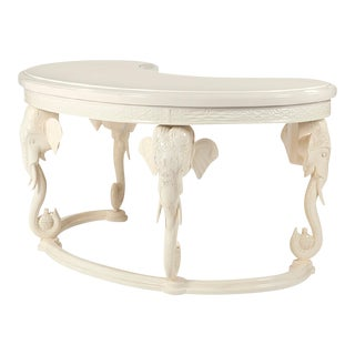 Gampel Stoll Hollywood Regency Lacquered Carved Elephant Desk For Sale