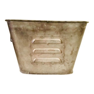 1970s Vintage Square Galvanized Bucket For Sale
