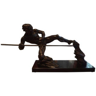 1930s Vintage French Art Deco Bronze Sculpture of an Athlete on a Marble Base For Sale