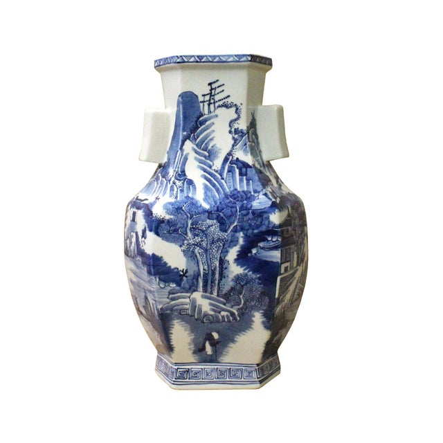 Ceramic Chinese Blue & White Porcelain Oriental Mountain Scenery Graphic Vase For Sale - Image 7 of 7