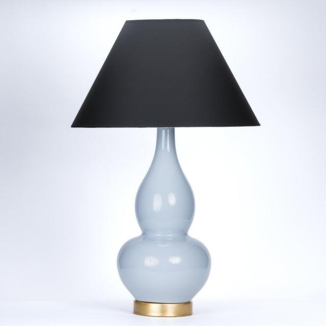 Ceramic Casa Cosima Double Gourd Table Lamp, Stinson Blue/Black Shade For Sale - Image 7 of 7
