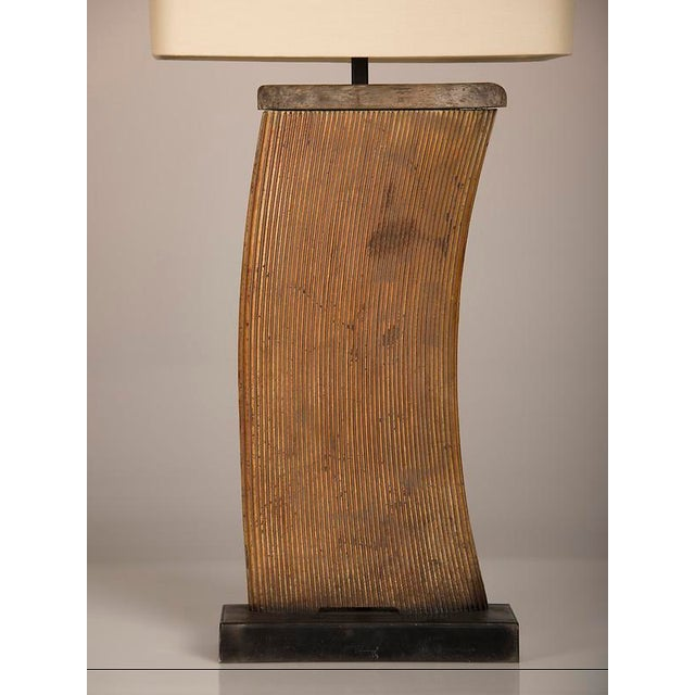 Vintage French Industrial Large Iron Fragment Now Mounted as a Lamp circa 1930 For Sale - Image 4 of 5