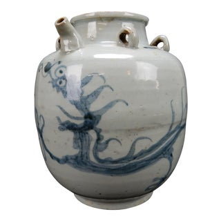 Rare Antique Chinese Ming Period Two Dragon Wine Vessel 10 Inches For Sale