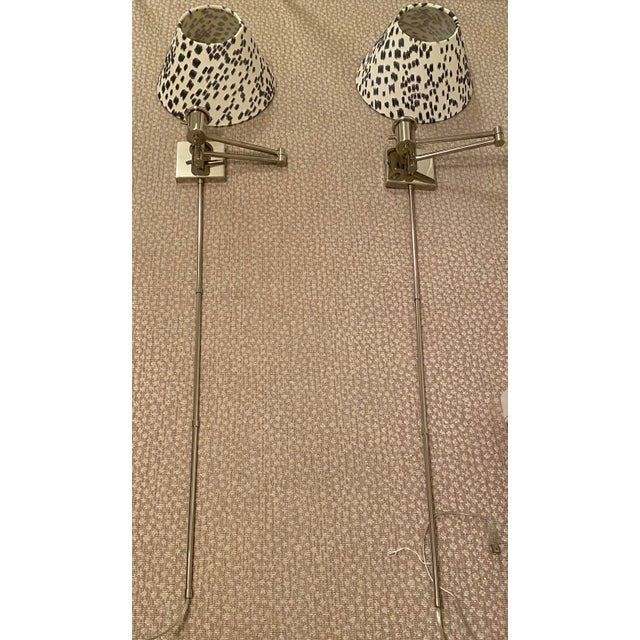 2010s Circa Lighting Polished Nickel Swing Arm Lamps - A Pair For Sale - Image 5 of 5