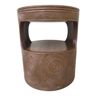 Round Vintage Gabriella Crespi Style Swirl Pencil Reed Bamboo Side Table or Night Stand For Sale