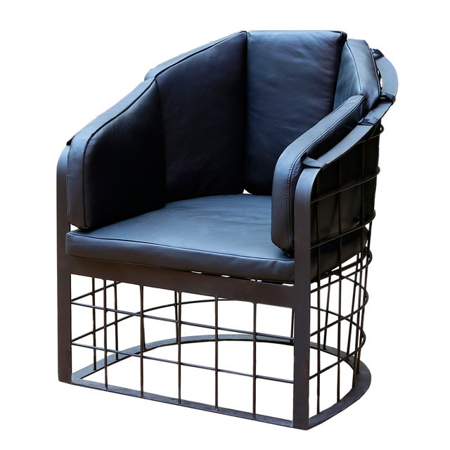 Wrought Iron Grid Lounge Chair - A Pair - Image 2 of 3