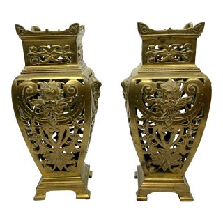 1920's Brass Urns With Pierced Design - a Pair For Sale