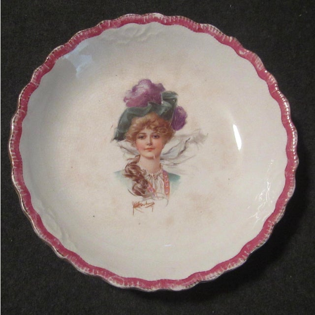 Signed 1907 Victorian Woman's Portraiture Bowl - Image 2 of 10