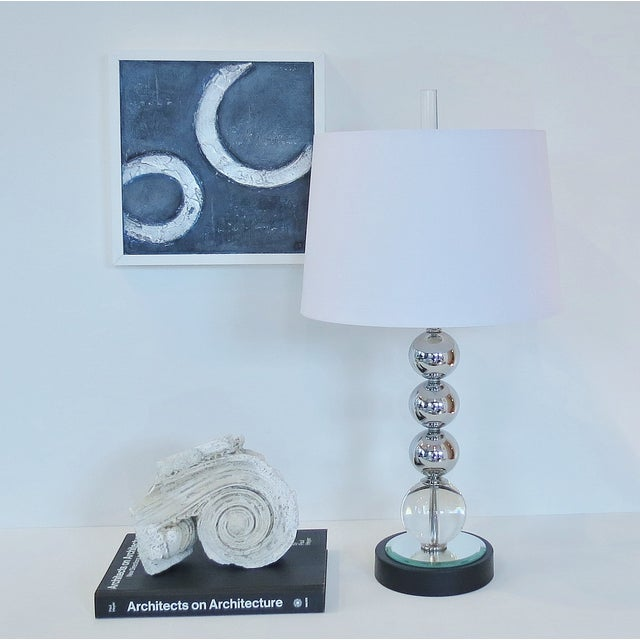 Vintage Chrome and Crystal Sphere Lamp - Image 5 of 5