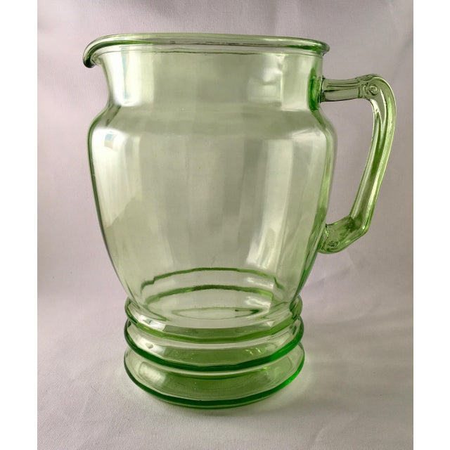 Anchor Hocking Green Uranium Glass Pitcher - Image 3 of 10