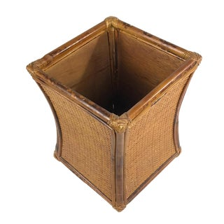 1970s Vintage Wood & Rattan Planter For Sale