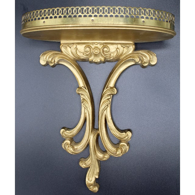 Late 19th Century Italian Florentine Golden Gilt Wooden Wall Shelf With Gallery (Available Pair) For Sale - Image 5 of 13