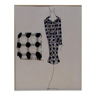 Navy & White Suit Fashion Illustration For Sale