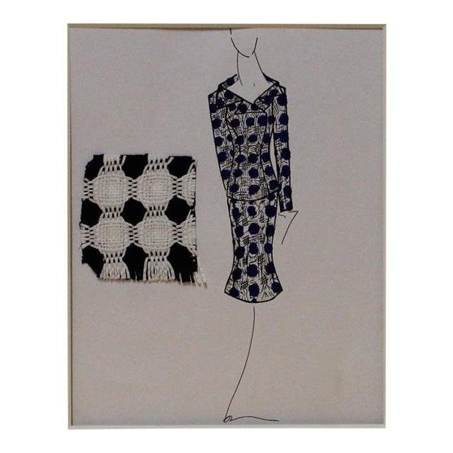Navy & White Suit Fashion Illustration For Sale