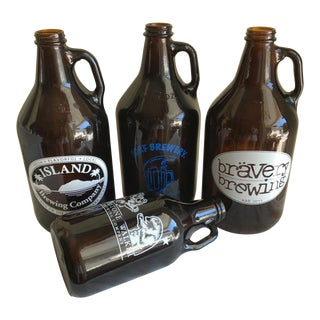 Retro Brown Glass Brewery Jugs - Set of Four