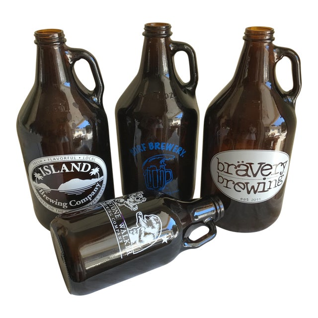 Retro Brown Glass Brewery Jugs - Set of Four For Sale