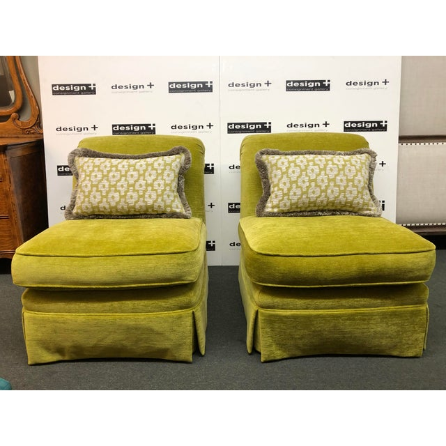 Design Plus Gallery presents a stunning pair of slipper chairs. Traditional in silhouette, contemporary in upholstery,...
