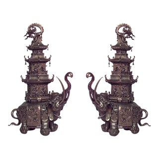 Pair of Asian Japanese Style Bronze Elephant Figures