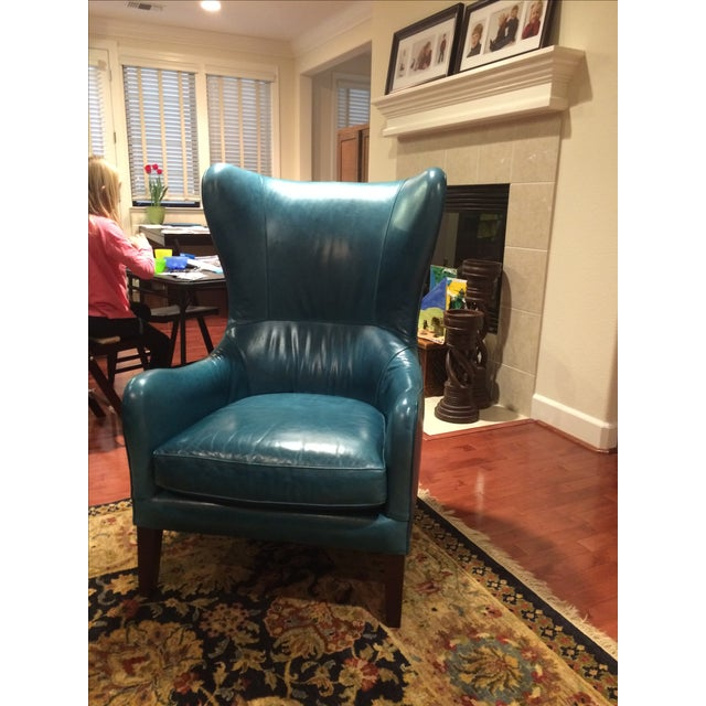 Strange Crate Barrel Teal Garbo Leather Wingback Chair Machost Co Dining Chair Design Ideas Machostcouk