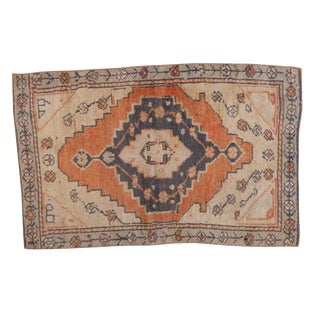 "Vintage Distressed Oushak Rug Mat - 1'8"" X 2'7"" For Sale"