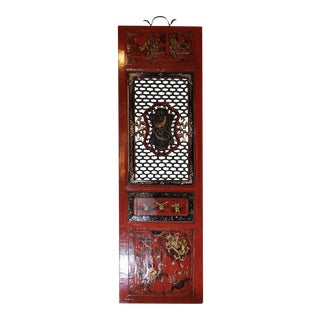 Painted and Carved Window Panel For Sale
